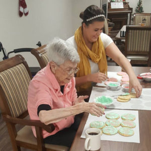 Staff and Resident Baking Cookies